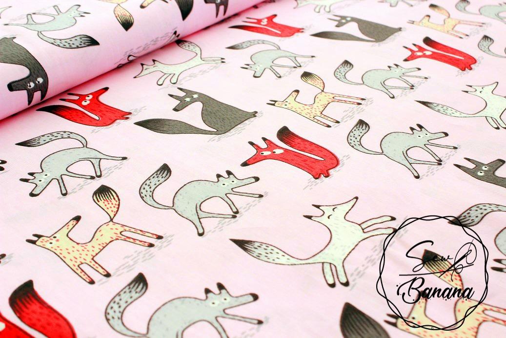 happy fox, cotton, cotton printed