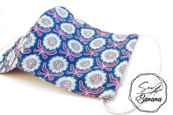 blue pink flower face mask