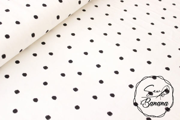 Big Dots, Bright White - Cotton Stretch Jersey