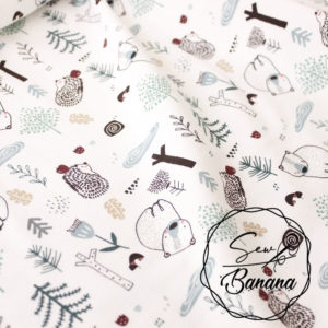 Bear In The Wood, White - Cotton Stretch Jersey