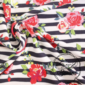 Flower Stripe, Navy Blazer - Cotton Stretch Jersey