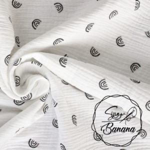 Bright White over the rainbow muslin
