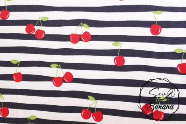 Cherry Stripe, Navy Blazer - Cotton Stretch Jersey